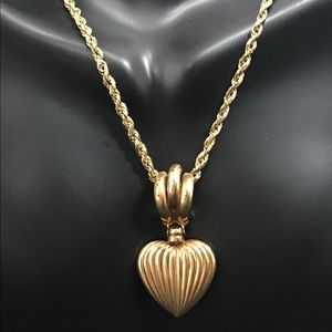 "Jewelry - 14K Gold PUFFED HEART 17"" 10K Gold Rope Necklace"